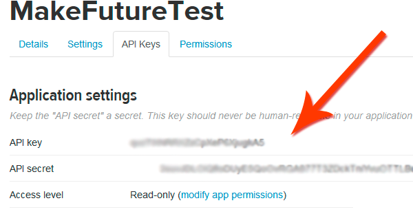 dev.twitter.com apps keys